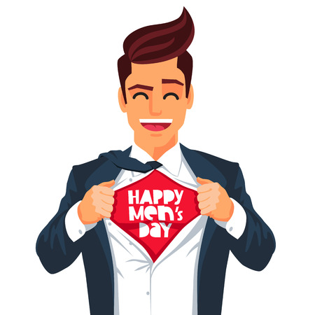Handsome young man in a business suit wearing a tie with a white shirt. Vector illustration on white background. The concept of a successful businessman. Hero, ripping off his shirt. Quote Happy Mens Day. Illustration