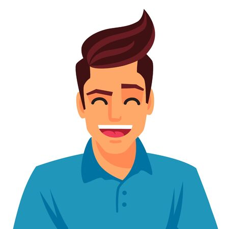 Handsome young man. Vector illustration on white background.