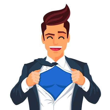 Handsome junge Mann in einem Business-Anzug tragen eine Krawatte mit einem weißen Hemd. Vektor-Illustration auf weißem Hintergrund. Das Konzept eines erfolgreichen Geschäftsmannes. Held, zerreißt sein Hemd.