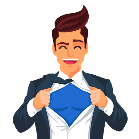 Handsome young man in a business suit wearing a tie with a white shirt. Vector illustration on white background. The concept of a successful businessman. Hero, ripping off his shirt. Illustration