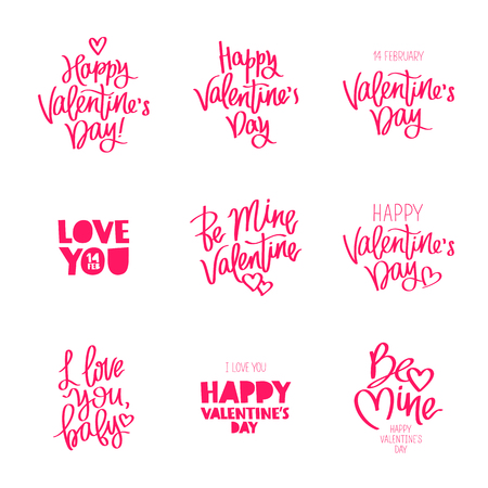 Set quotes on the day of Valentine. The trend calligraphy. Vector illustration on white background. Elements for design.
