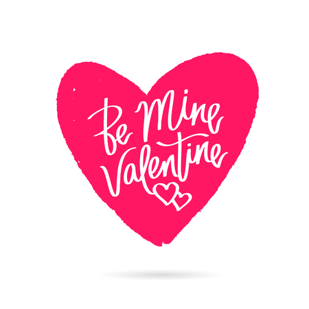 be mine: Be mine Valentine. Happy Valentines day. The trend calligraphy on the red heart. Vector illustration on white background. Great holiday card for the day of lovers. Elements for design.
