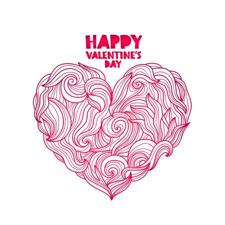 Happy Valentines day. The trend lettering. Big beautiful heart. Vector illustration on white background. Excellent holiday card Valentines day