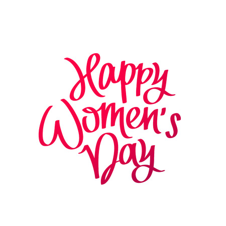 Happy Womens Day. The trend calligraphy. Vector illustration on white background. Great holiday gift card. 8 March.