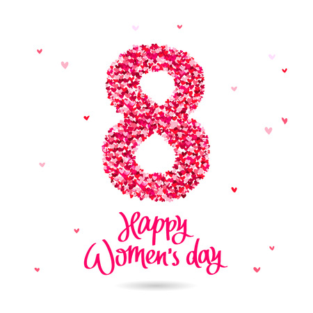 Happy Womens Day. The trend calligraphy. Vector illustration on white background. Great holiday gift card. The number of 8 in hearts.