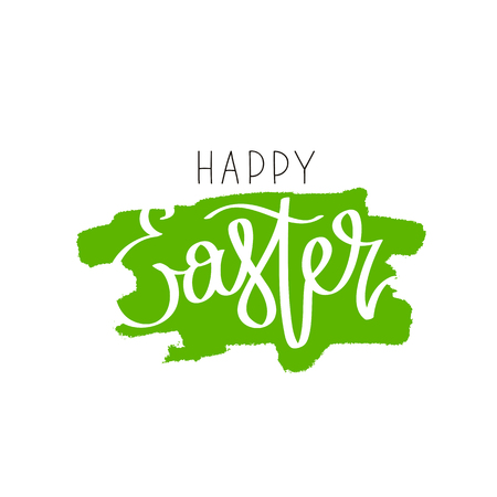 green cross: Happy easter. The trend calligraphy.