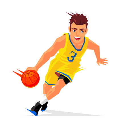 Cool basketball player in yellow uniform with the ball. Vector illustration on white background. Sports concept.
