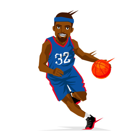 Cool black basketball player in a blue uniform with a ball. Vector illustration on white background. Sports concept. Illustration