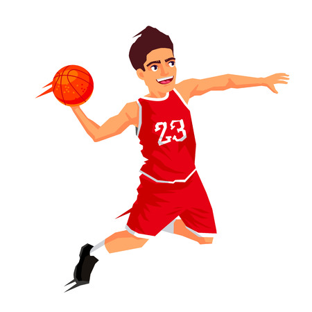 striker: Cool basketball player in red uniform with a ball in a jump. Vector illustration on white background. Sports concept.