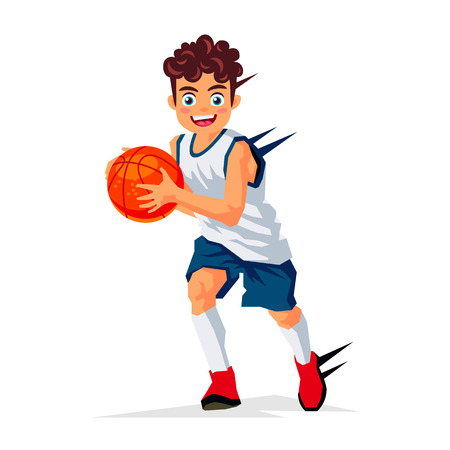 striker: Little basketball player with the ball. Vector illustration on white background. Sports concept.
