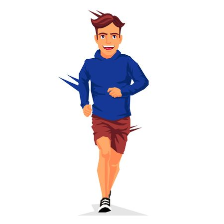Young handsome guy is running. Vector illustration on white background. Sports concept. Illustration