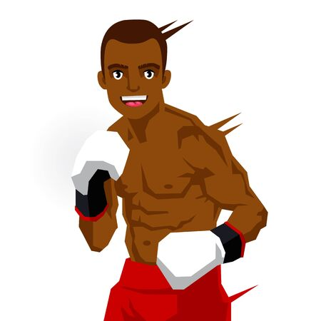 bruise: Cool black boxer. Vector illustration on white background. Sports concept.