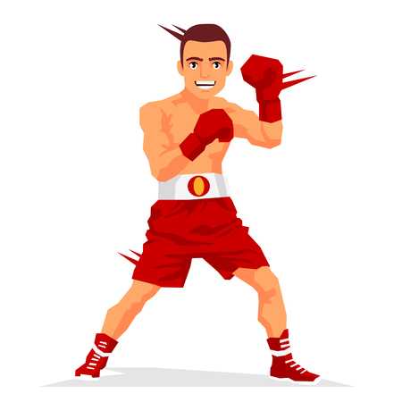 Cool boxer in the rack. Vector illustration on white background. Sports concept. Illustration