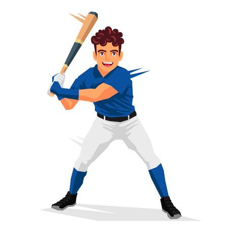 Cool baseball player. Vector illustration on white background. Sports concept. Illustration