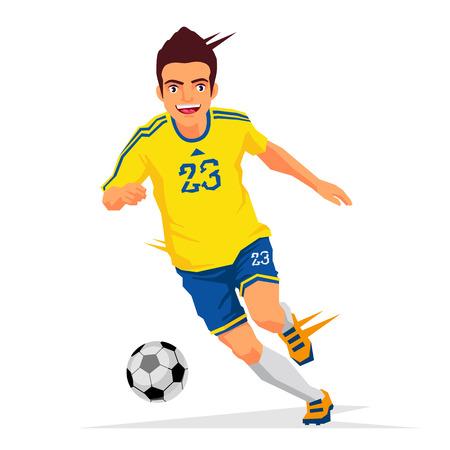 Fajny piłkarz w żółtej koszuli. Ilustracja wektorowa na białym tle. Pojęcie sportu.