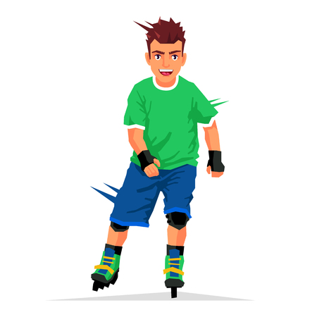 rollerball: Cool handsome guy rides on roller skates. Vector illustration on white background. Sports concept.