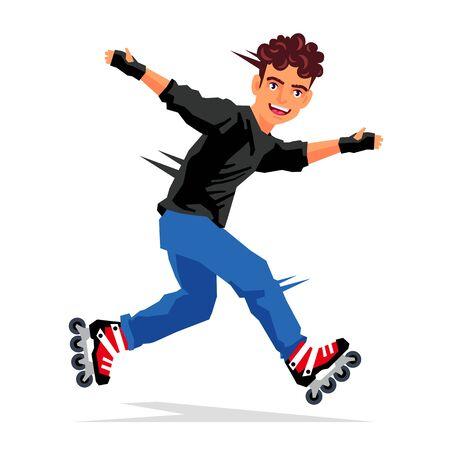 rulos: Individuo hermoso fresco hace un truco en los rodillos. Ilustración vectorial sobre fondo blanco. Concepto de deportes.