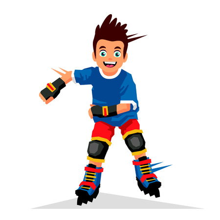 rollerball: Little boy riding on roller skates. Vector illustration on white background. Sports concept.