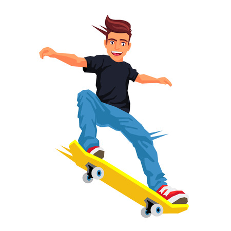 Cool skateboarder doing a trick on a skateboard. Vector illustration on white background. Sports concept.