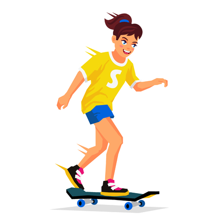 Pretty girl learning to ride a skateboard. Vector illustration on white background. Sports concept.