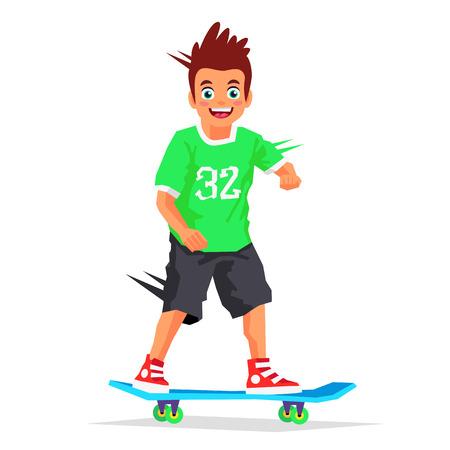Little skateboarder riding on a skateboard. Vector illustration on white background. Sports concept.