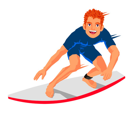 Young surfer standing on the board. Vector illustration on white background. Sports concept. Illustration