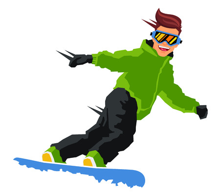 Guy rides on a snowboard. Vector illustration on white background. Sports concept.