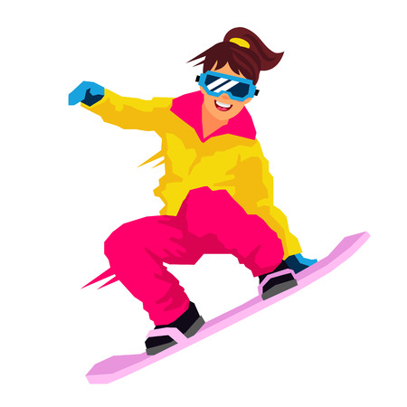 cool girl: Cool girl riding a snowboard. Vector illustration on white background. Sports concept.