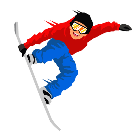 Guy in a jump on a snowboard. Vector illustration on white background. Sports concept. Illustration