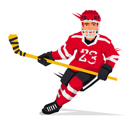 Cool hockey player with a stick in the red form. Vector illustration on white background. Sports concept. Illustration
