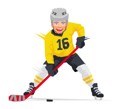 Hockey player with a stick in yellow uniform. Vector illustration on white background. Sports concept. Ilustração