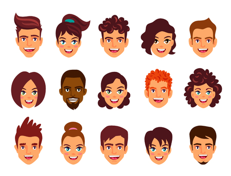 Portraits of men and women. People avatars. Vector illustration on white background.