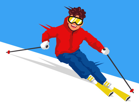 relay: Cool skier going downhill. Vector illustration on white background. Sports concept.