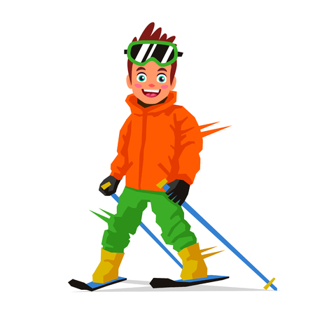 Little happy skier. Vector illustration on white background. Sports concept.