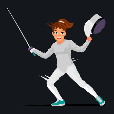mosquetero: La muchacha - un espadachín. Ilustración del vector en un fondo negro. Concepto de deportes. Esgrimidor.