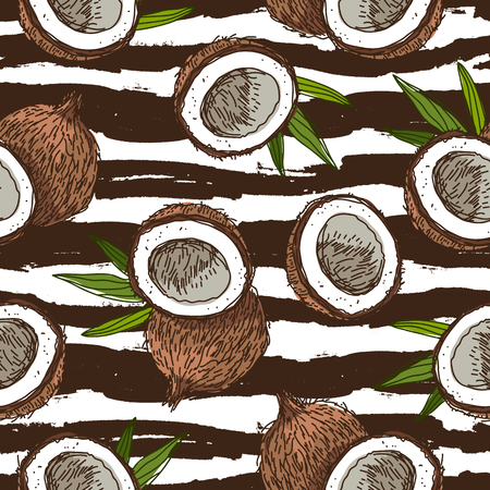 Seamless vector pattern of coconuts on a striped black and white. Paradise fruit. Summertime concept. Wrapping paper. Illusztráció