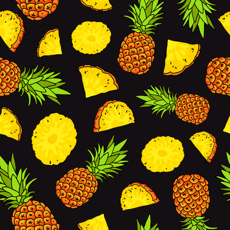 Vector seamless pattern of pineapples on a black background. Summertime concept. Paradise fruit. Wrapping paper.