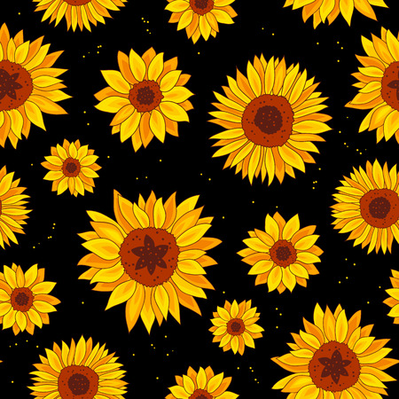Seamless vector pattern of sunflowers on a black background. Wrapping paper. Summer print. Illustration
