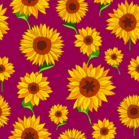 Seamless vector pattern of sunflowers on a purple background. Wrapping paper. Summer print.