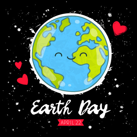April 22 - Earth Day. The trend calligraphy. Cute smiling blue planet. Vector illustration on a black background. Gift card.