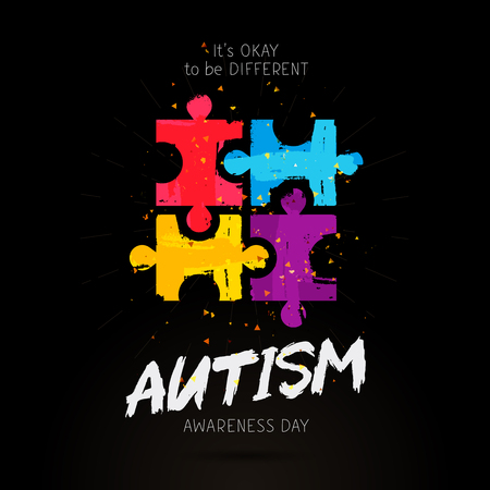 Autism Awareness Day. It's okay to be different. Trend lettering. Multicolored puzzle of brush strokes. Healthcare concept. Vector illustration on a black background.