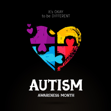 Autism Awareness Month. It's okay to be different. Trend lettering. Multicolored puzzle in the form of heart of brush strokes. Healthcare concept. Vector illustration on a black background.