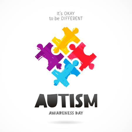 Autism Awareness Day. It's okay to be different. Trend lettering. Multicolored puzzle of brush strokes. Healthcare concept. Vector illustration on white background.
