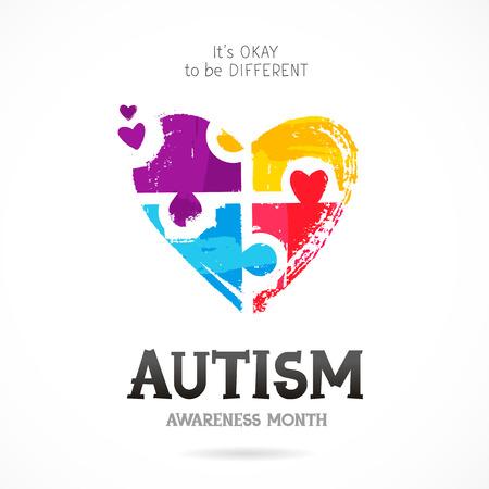 Autism Awareness Month. Het is prima om anders te zijn. Trend belettering. Veelkleurige puzzel in de vorm van een hart van penseelstreken. Gezondheidszorg concept. Vectorillustratie op witte achtergrond.