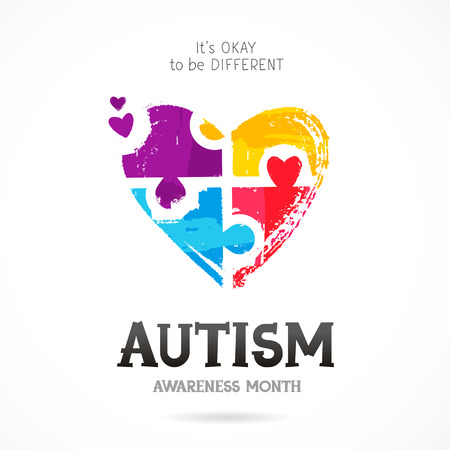 Autism Awareness Month. It's okay to be different. Trend lettering. Multicolored puzzle in the form of heart of brush strokes. Healthcare concept. Vector illustration on white background.