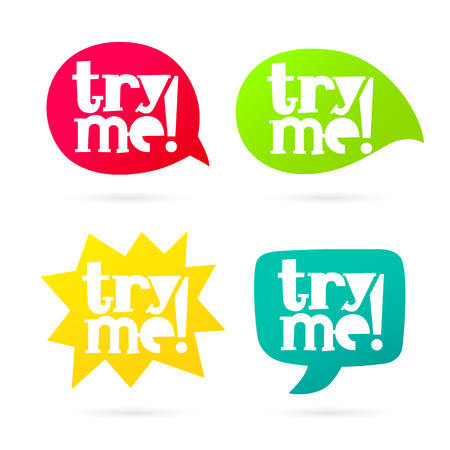 """The inscription """"Try me"""". Trend lettering. Vector illustration on white background. Multicolored bubble. Vector Illustration"""