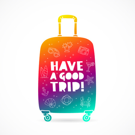 Rainbow suitcase with a sign - Have a good trip and summer icons. Trend lettering. Vector illustration on white background. Illustration