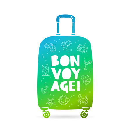 Big bag with the inscription - Bon Voyage and summer icons. Trend lettering. Vector illustration on white background. Illustration