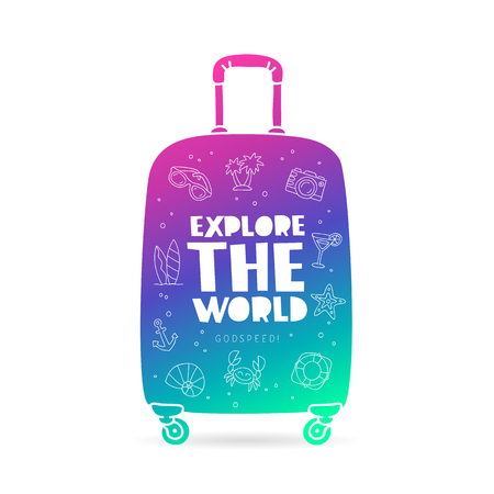 Suitcase with the inscription - Explore the world, Godspeed, and summer icons. Trend lettering. Vector illustration on white background.