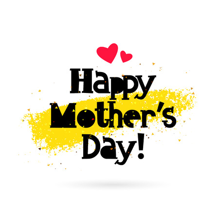 Happy Mother Day. lettering. Vector illustration on white background with gold smear of ink. Great holiday gift card. 向量圖像